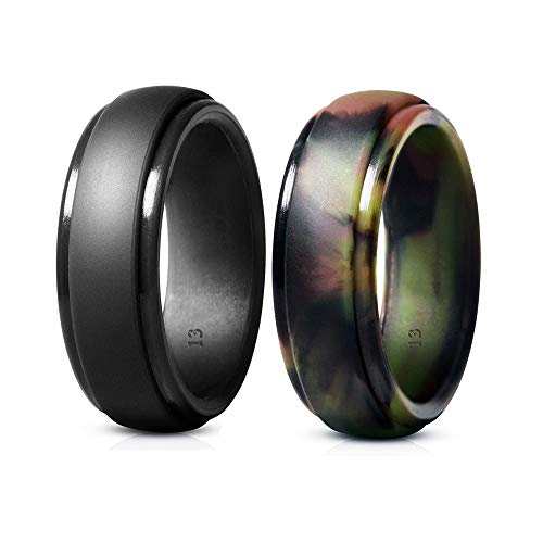 YTF Mens Silicone Wedding Ring, Rubber Silicone Wedding Bands, Durable Comfortable Soft and Skin Safe - 2 Pack (Gray, Camo, 8mm Wide)]()