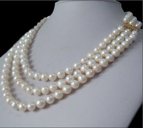 Charming 3 rows natural 9-10mm south sea white pearl necklace size 18
