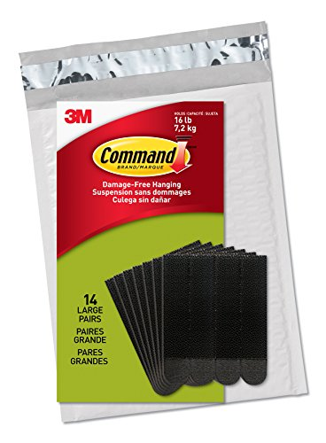 Command Large Picture Hanging Strips, Black, 14 Pairs, Four Pairs Hold 16 lbs (PH206BLK-14NA) – Easy To Open Packaging