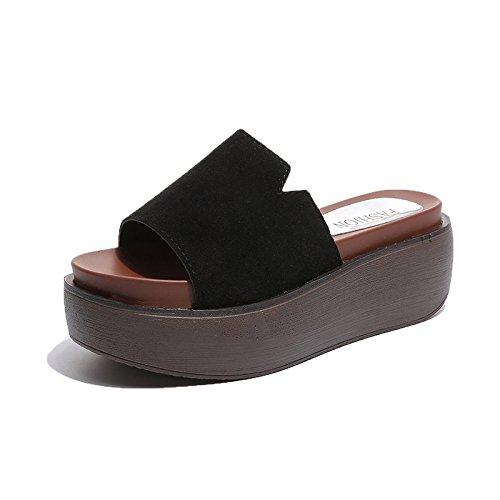 flops Talons Femmes Semelles Leather38 épaisses HONG Black Vêtements étanche Sandales Hauts Chaussures scrub36 Nouveau Plate à Femmes Matte forme à JIA White été Plat Flip Décontractés gHvIOOq