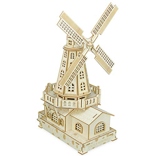 Bitopbi 3D Wooden Puzzles Laser Engraving DIY Safe Assembly Constructor Kit Toy for Kids Teens and Adults, World Famous Buildings Mechanical 3-D Models for Self-Assembly (C2 Dutch ()