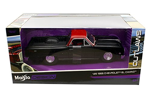 NEW 1:24 W/B OUTLAWS COLLECTION - MATTE BLACK 1965 CHEVROLET EL CAMINO Diecast Model Car By Maisto