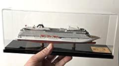 "Beautiful Display Series full hull cruise ship model in scale 1:900. Size: model - 10"" (25.3 cm), case - 12"" (30.5 cm). Designed and cast in USA. Assembled and hand painted in Europe/USA. Expertly designed to exact hull lines, architectural p..."