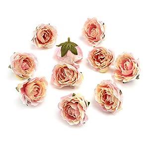 Fake flower heads in bulk wholesale for Crafts Peony Flower Head Silk Rose DIY Scrapbooking Decorative Flower Heads Decor for Home Garden Wedding Birthday Party Decoration Supplies 30PCS 4cm (Pink) 6