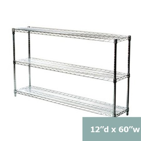 """Review 12""""d x 60""""w Chrome Wire Shelving with 3 Shelves By Shelving Inc by Shelving Inc"""