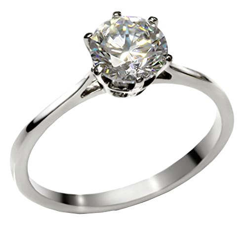 Round Cubic Zirconia Solitaire Stainless Steel Women Wedding Engagement Ring size 6 SPJ