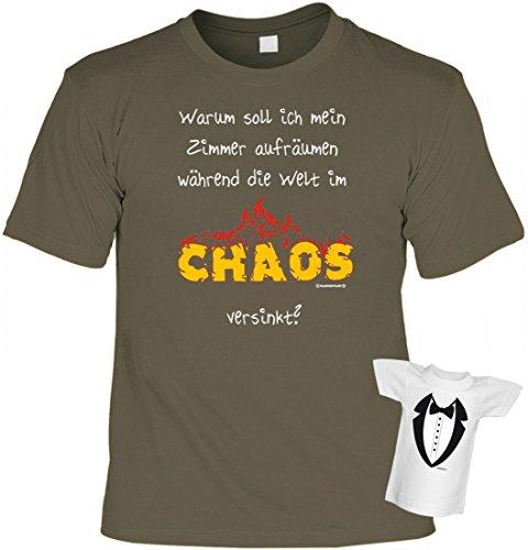 T-Shirt Teenie Teenager - Warum Zimmer aufräumen, wenn die Welt im Chaos versinkt - Set inkl. Minishirt als Geschenk