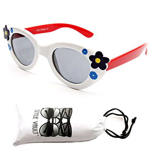 Kd209-vp Style Vault Kids 2-8yr Shape Sunglasses (8109 White/Red, - Sunglasses Designer Baby
