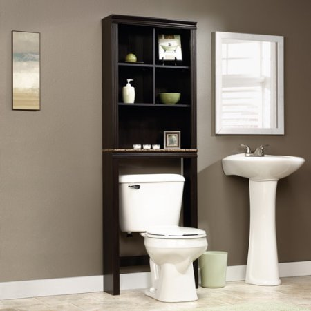 Etagere Cinnamon Cherry Finish with Cascade Granite Finish Accent, Space-Saving Cabinet Fits Over Toilet, Cubbyhole Storage Features 2 Adjustable Shelves, Faux Granite Finish Shelf