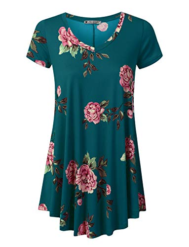 URBANCLEO Womens Floral V-Neck Short Sleeve Tunic Top T-Shirt Dress Teal, XL