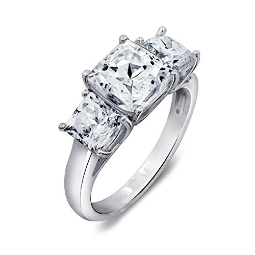 3 Stone Radiant Ring - Diamonbliss Sterling Silver Cubic Zirconia 3-Stone Square Radiant Cut Ring, Size 5