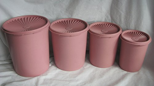 Tupperware (4) Vintage Pink Mauve Servailier Rare Stacking Canister Set