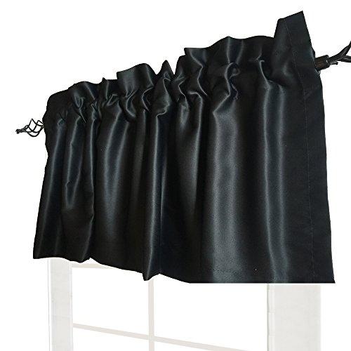 Valea Home 52-inch by 18-inch Solid Room Darkening Blackout Window Valance Rod Pocket Kitchen Curtain, Black