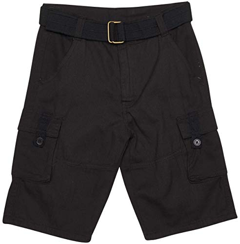 Quad Seven Boys Brushed Twill Cargo Belted Shorts, Black, Size - Dress Cargo Belted