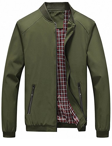 (Lentta Men's Casual Slim Lightweight Softshell Zipper Windbreakers Bomber Jacket (Large, Army Green 001))