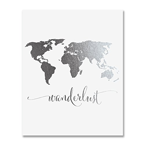 Wanderlust World Map Silver Foil Art Print Travel World Traveler Poster Modern Art Contemporary Metallic Wall Decor 8 inches x 10 inches A4