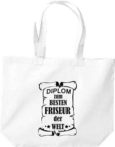 große Einkaufstasche, Diplom zum besten Friseur der Welt, Weiß