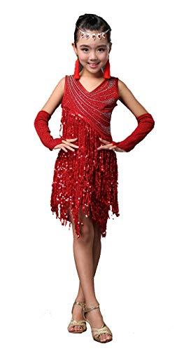Forgrace Girls Sparkling Sequin Tassels Latin Rumba Salsa Performance Dancing Dress Medium Red