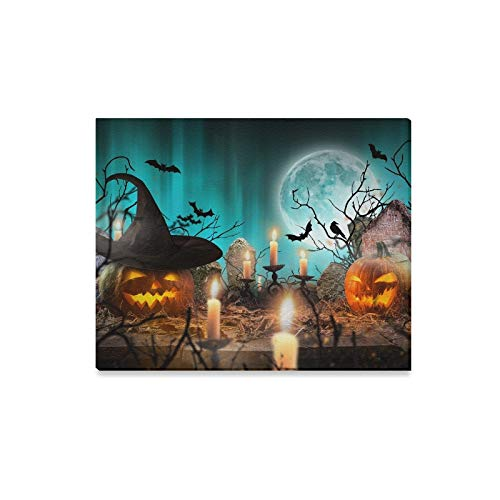 (Wall Art Painting Halloween Pumpkins On Wooden Planks Blue Prints On Canvas The Picture Landscape Pictures Oil for Home Modern Decoration Print Decor for Living)