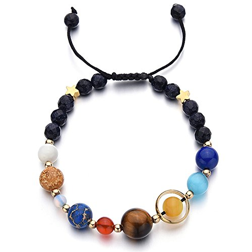 Menglina Women Men Handmade Universe Galaxy Eight Planets Bracelet Solar System Guardian Stars Stones Beads Bracelets Adjustable Size