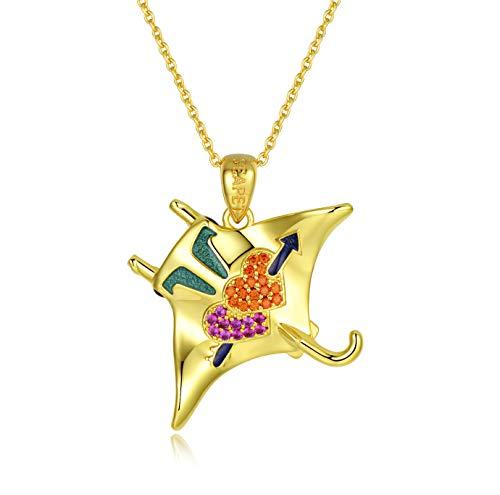 SEAPET Manta Heart Arrow Pendant Necklace Handmade Ocean Jewelry, 3D Double-Side 18K Gold Plated