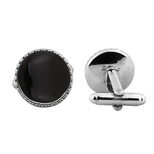 16.15ct,Genuine Black Onyx & 925 Silver Plated Cufflinks ()