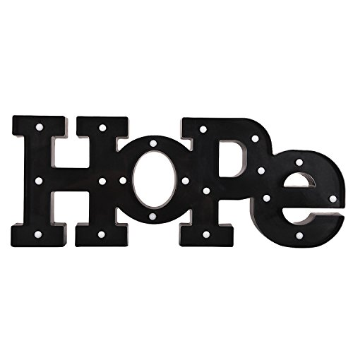 DecentHome LED Light Up Hope Letters Marquee Wall Sign Bar Home Decoration Black