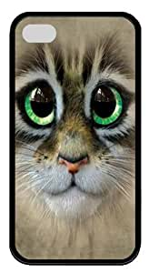 Big Eyes Kitten Face TPU Silicone Case Cover for iPhone 4/4S Black