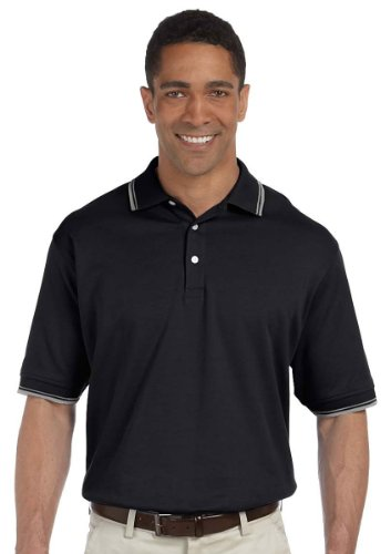 Devon & Jones Men's Classic Tipped Pima Interlock Polo Sport Shirt - Large - BLACK/GREY HTHR - Tipped Jersey Sport Shirt