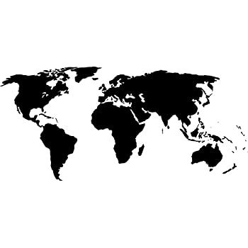 Black 22u0027u0027 X 50u0027u0027 World Map Wall Decal Vinyl Art Sticker Home