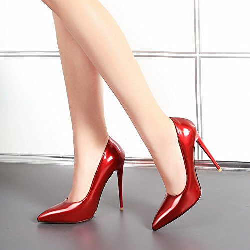 MissSaSa Damen elegant high heel Pointed Toe Lackleder Pumps/Brautschuhe mit Stiletto Rot