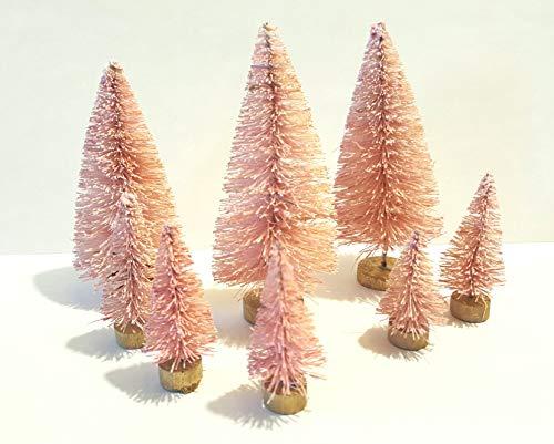 (Very Vintage N More LOT 8 Mini Pink Miniature Sisal Bottle Brush Flocked Christmas Trees Village)
