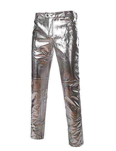OnIn Fashion;Handsome Mens Side Zipper Design Moto Jeans Style Metallic Gold Pants/Straight Leg Trousers SilverUS 28/Tag Asian M by OnIn Pants