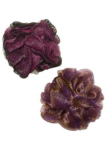 2-Pack of Dark Pink Fuchsia Purple Lavender Big Plush Large Designer Colors 4.5'' inches Diameter Bath Shower Body Sponge Puff Pouf Soft Mesh Exfoliating Cleansing Loofah Luffa For Women by Secret for Longevity (Image #1)