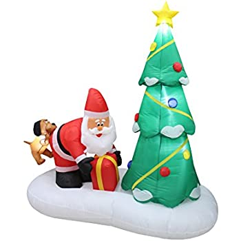6 foot tall lighted inflatable santa claus and dog with christmas tree cute indoor outdoor garden - Outdoor Lighted Dog Christmas Decorations