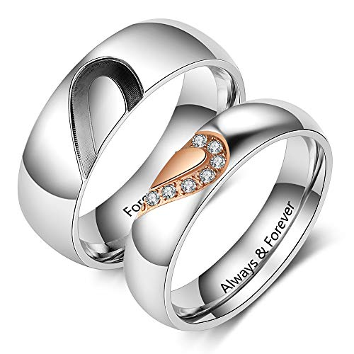 ed Mens and Womens Promise Rings Set for Couples Stainless Steel Engagement Wedding Rings Band Set for Her Valentines Day Jewelry (Silver+Rose Gold (Rings Set 2pcs)) ()