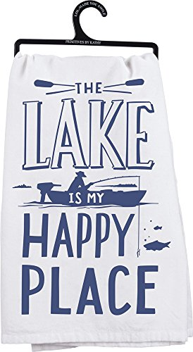 Primitives by Kathy LOL Dish Towel, 28-Inch Square, The The Lake is My Happy Place