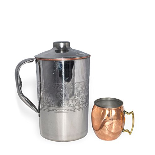 DakshCraft ® Inside Pure Copper Jug With 1 Copper Moscow Mule Mug Dutch Style Lacquered Finish