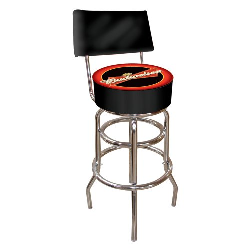 Rung Swivel Fabric Bar Stool - Trademark Gameroom Budweiser Padded Swivel Bar Stool with Back