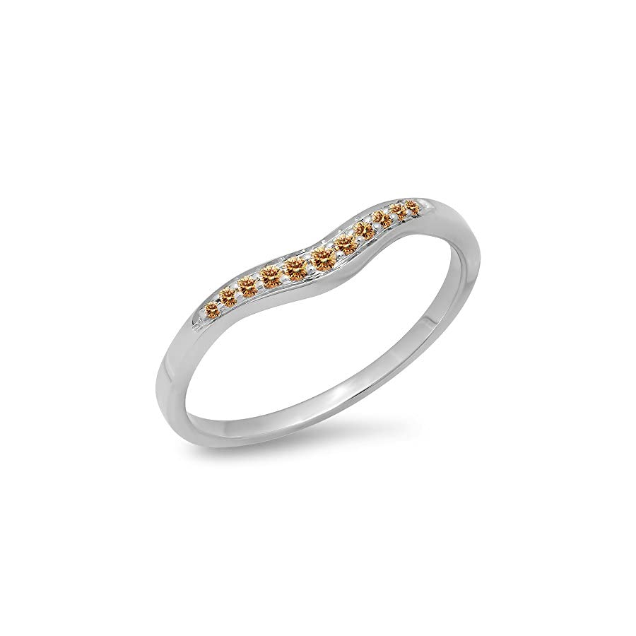 Dazzlingrock Collection 0.11 Carat (ctw) 14K Gold Round Cut Champagne Diamond Anniversary Wedding Stackable Contour Guard Band