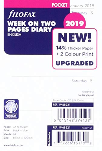 - Filofax 2019 Pocket Week to View Refill, Jan 2019- Dec 2019, 4.75 x 3.25 inches (C68221-19)