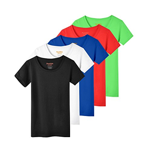 Pumpkin Brother 5 Pack Womens Plain Shirts Crewneck T-Shirt for Women and Girls Assorted Color Tee Shirts -