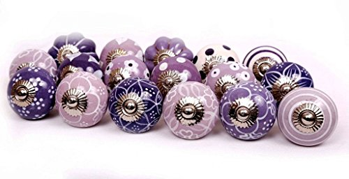 JGARTS 10 Knobs Purple & White Hand Painted Ceramic Knobs Cabinet Drawer Pull