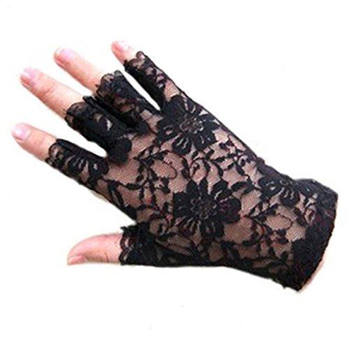 Black Lace Fingerless Gloves (Polytree Women's Lace Fingerless Gloves (Black))