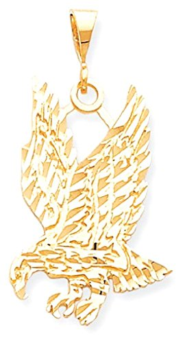 ICE CARATS 10k Yellow Gold Solid Eagle Pendant Charm Necklace Bird Fine Jewelry Gift Set For Women Heart (Eagle Solid Pendant Gold 10k)