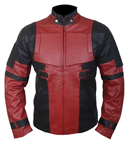 F&H Men's Deadpool Ryan Reynolds Genuine Leather Jacket L Black