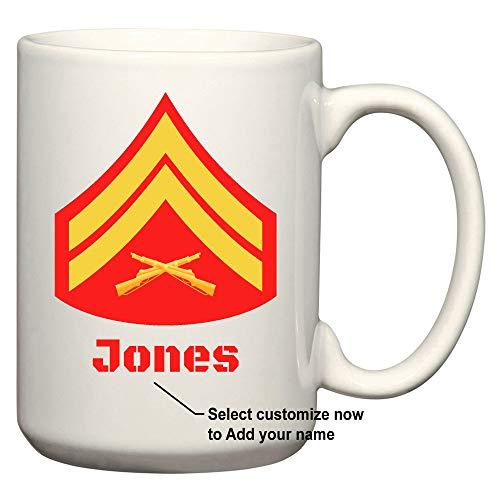 (U.S. Marine Corps Customizable Rank Insignia Ceramic Coffee/Cocoa Mug by Carpe Diem Designs, Made in the U.S.A.)