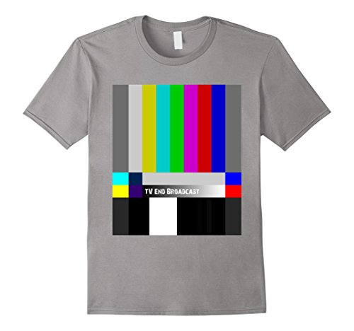 [Men's TV End Broadcast T-Shirt SMPTE Color Bars Graphic Tee Small Slate] (Smpte Color Bars)