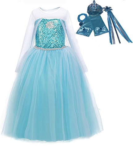 Ice Queen Elsa Blue Snowflake Jewel Costume Dress Gift Set (Blue, (Elsa Dress Fabric)