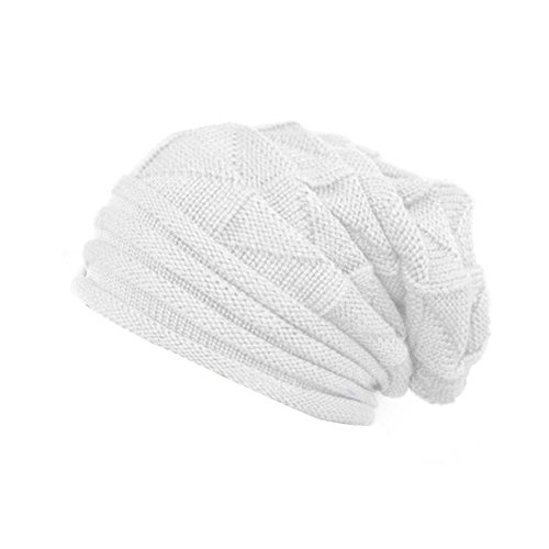 White Slouch Hat - PYD Winter Warm Slouch Baggy Beanie Beret Hollow Out Knitted Crochet Hat,One Size,White